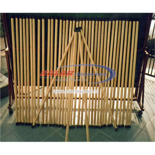 Baston de madera para ejercicios con topes de goma