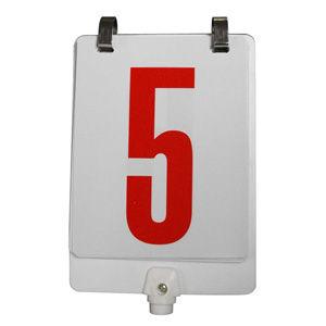 Letrero numerado para cambios 1 al 18